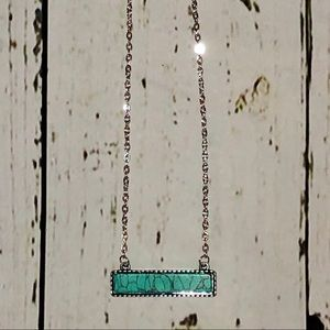 Jewelry - Silver Faux Turquoise Long Bar Necklace!! (NWT)